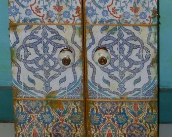 Moroccan inspired Wall Cabinet, jewelry box, medicine cabinet, Wedding gift