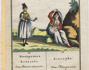Antique Vintage 19thc Hungarian Bride Costume Colored Engraving Trachten Clothing Textile