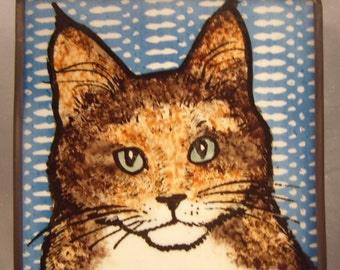 Stained Glass Cat Suncatcher JRNcat025