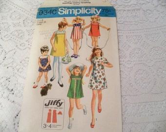 Size 6 Girls 1971 Simplicity 9340 Jiffy Dress, A Line Dress Front Yoke Round Neckline Five Girl Dress Patterns Sewing Pattern Supply Retro C
