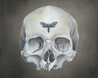 Omen - Skeleton Moth Print of Oil Painting