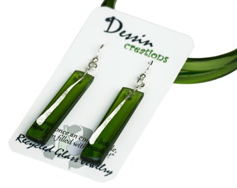 CUSTOM Wine Bottle Earrings, Drop Earrings, Recycled Glass Jewelry, Modern Wedding Jewelry, Dessin Creations