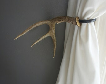 Antler Curtain Tie Back Holdback Cabin Decor Primitive Natural
