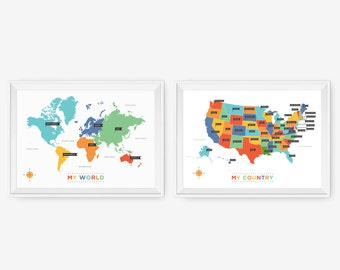 My World, My Country Set of 2, Wall Art for playroom, Kids wall art, Nursery Art, Children Room Decor, Classroom Decor - Custom Colors