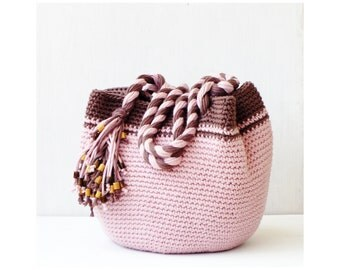 Pink and brown boho purse, spring crochet bag, crochet shoulder bag, handbag tote bag, everyday hobo bag, casual purse crochet, bohemian bag