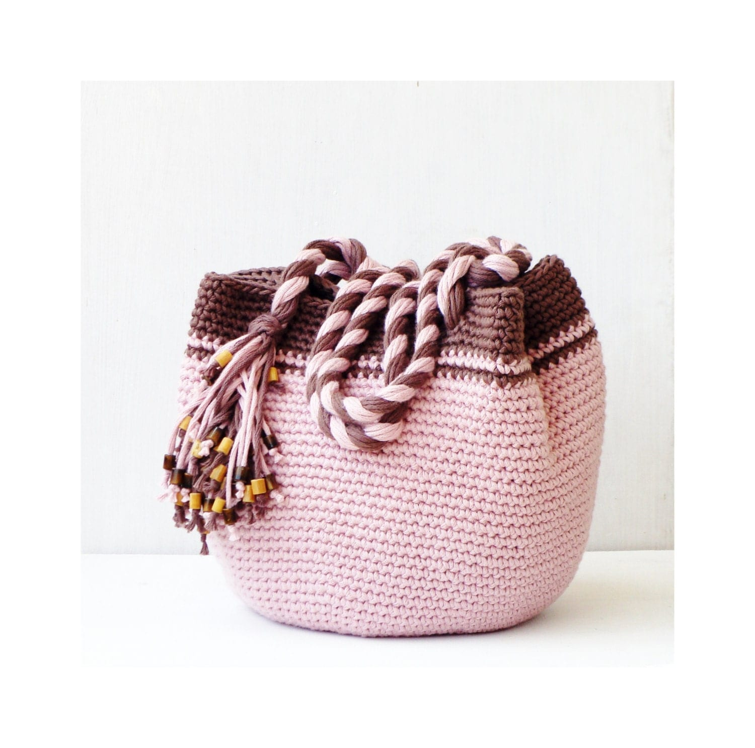 Crochet Boho Bag : Pink and brown boho purse spring crochet bag crochet by zolayka