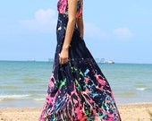 Blue Maxi Dress Long Dress Dress Bridesmaid Dress Party Christmas Gifts Floral Beach Prom Day