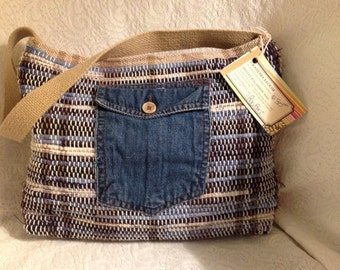 """Beautiful shades of blue and tan in this small handwoven """"Rag Bag"""" (Pruse)"""