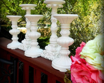 """Bright White Wedding, 5 Piece Pillar Candle Holder Set-10"""" and 8""""-Paris Chic, Primitive, Folk,French Country,Venetian Home,Shabby White,Glam"""
