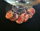 Cork Wine Charms Upcycled and Repurposed Orange, Grey and White Floral and Paisley designs Drink Rings Tags