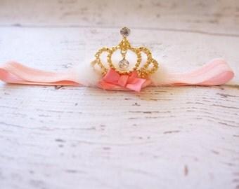princess crown headband - baby crown headband- crown headband - gold crown headband- baby headband- crown