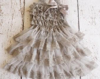 lace flower girl dress- Silver flower girl dress- flower girl dresses- gray flower girl dress- rustic flower girl dress- country flower girl