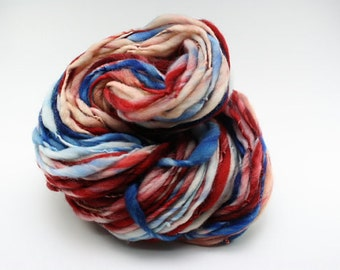 Thick and Thin Yarn Slub tts Handspun Hand dyed LR Red White Blue 03 *Reduced 2nd Shipping*
