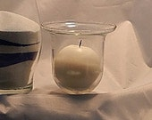 "Glass Hanging Votive with 3"" Round Candle"