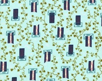 Homebody Window Vine in Aqua, Kim Kight, Cotton+Steel, RJR Fabrics, 100% Cotton Fabric, 3004-002