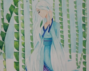 Japanese Fairytale Art Print, Fantasy Girl Wall Art, The Stork Wife, Size 8x10