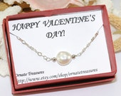 Valentine's Day Gift Coin Pearl Necklace Valentine's Day Jewelry  Mother Jewelry Valentine's Day Card Mother Necklace Card Boxed Set