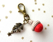 Fall Brass keychain with red felt acorn and leaf. Woodland keychain.