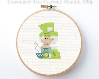 The Mad Hatter Cross Stitch Pattern instant download Alice in wonderland easy needlepoint