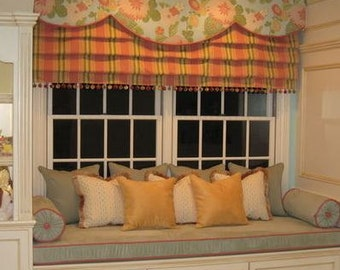 Window seat and with Roman Shade and Scalloped Valance
