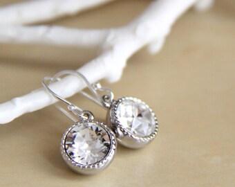 Bridesmaids Earrings with Swarovski Crystals - Bridesmaid Crystal Earrings