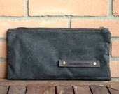 Waxed canvas case - canvas pencil case - waxed cotton case - waxed canvas pouch - waxed canvas bag - cosmetic bag - handmade case