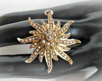 Antique 14k Seed Pearl Starburst Pin/Pendant Early 1900's
