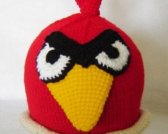 Angry Bird  - hand knitHat - Childs'  medium size - Ready to Ship!!