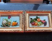 3D 1950S mad men Fruit Plaque Pictures in Turquoise & coral. Fruit scenes in  ceramic w/miniature Frames.MAD MEN home decor