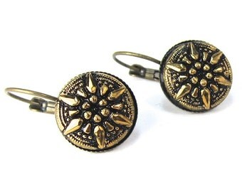 Gold and Black Compass Czech Glass Button Earrings