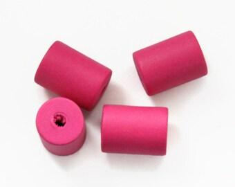10 Pink Wooden Tube Beads, Geometric beads, Pink Wood Beads W 70 023