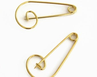 2 Large Gold Safety Pins, Gold Safety Pin Brooch, Charm Holder, Gold Brooch Pin F 20 033
