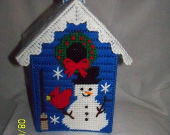 Blue Holiday Snowman Tissue Box Cover