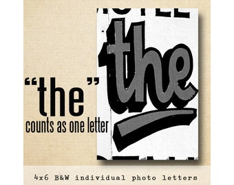 Letter THE  Alphabet Photography  BW 4x6 Letter Photo