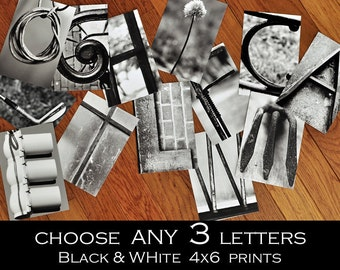 Alphabet Photography 4x6 Black and White Individual Photo Letters  ANY 3 LETTERS