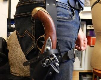Pirate universal leather leg holster for flintlock pistol, very high quality. SCA, LARP.