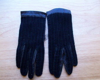 Vintage black leather and crochet driving gloves made in France