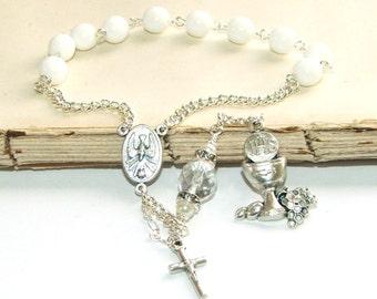 First Holy Communion Decima Rosary, White & Silver, Catholic Girls' Pocket Rosary Beads