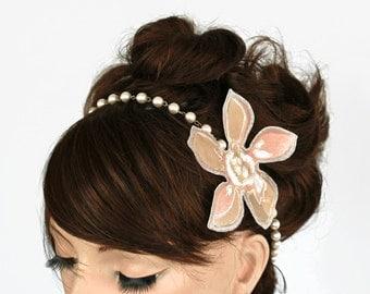 Blush Bridal Headband, Pink Pearl Bead Headpiece, Wedding Necklace, Modern Romantic Wedding Hair