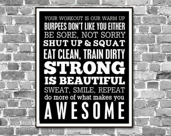 Fitness Subway Art Poster - Funny Bootcamp Exercise Motivational 2014 Resolution Digital Art Print - Athlete Gym Decor Black and White Art