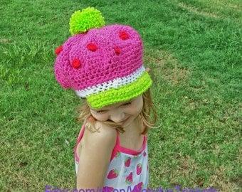 Crochet Inspired Strawberry Shortcake Hat