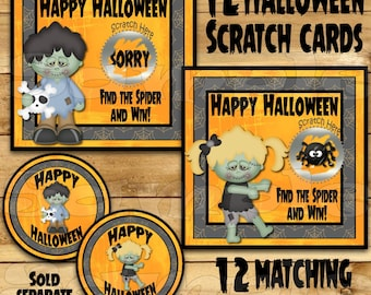 Halloween game Scratch Off Cards stickers Halloween Party Game scratch tag Party Scratch off game Party favors girl or boy zombies 12 Precut