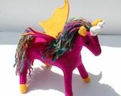 Candy Colors Pegacorn Fantasy Plush, Handcrafted Eco Felt, Stuffed Animal Toy, Eco Friendly, Girls Gift, Fantastical Winged Unicorn, Pegasus