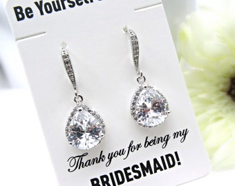 White Crystal Bridal Earrings Teardrop Bride Earrings Cubic Zirconia Wedding Jewelry CZ Bridesmaid Gift Wedding Earring White Bridal Jewelry