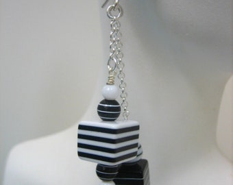 Black and White Cube earrings