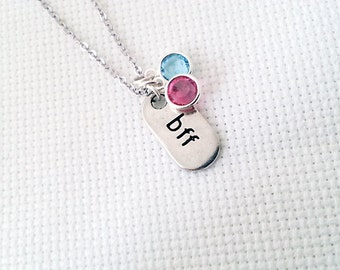 BFF Necklace. Silver Best Friends Necklace. Birthstone Necklace. Personalized. Best Friends Forever