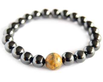 Leopardskin Jasper - CANCER Zodiac Bracelet Magnetic Hematite Energy Gemstone, Astral Stone, Yoga Stack Mediation Bracelet, Focus Stone Mala