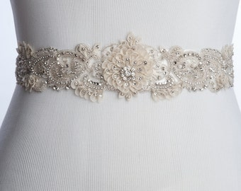 ivory Bridal sash with silk petals, wedding dress sash, wedding belt, rhinestone beaded sash, flower belt for wedding dress