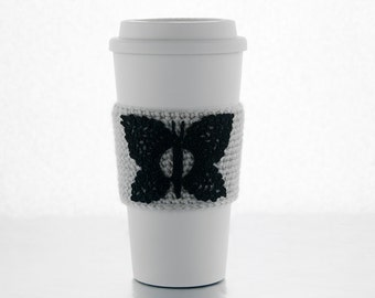 Butterfly Coffee Cozy, crocheted, black butterfly, silver gray sleeve