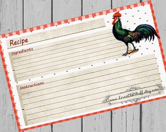 Printable Blank Recipe Cards | 4x6 Country Recipe Card 3.5x5 | 3x5 Rooster Recipe Card For Bridal Shower | Party Favors